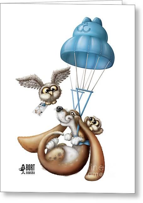 Parachute Greeting Card by Vlada Bortnovska