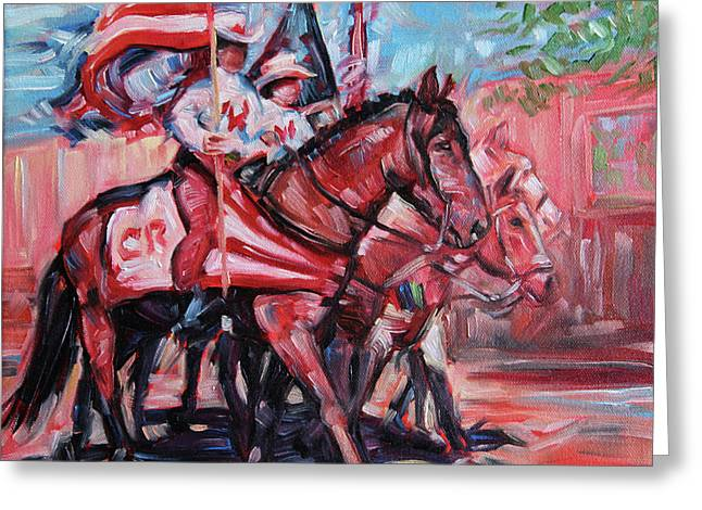 Parade Horse Greeting Card by Dennis Line