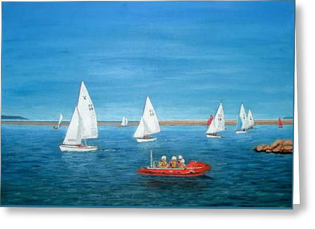 Parade Of Sail, 2009 - West Kirby Marine Lake Greeting Card by Peter Farrow