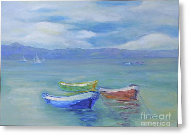 Greeting Card featuring the painting Paradise Island Boats by Barbara Anna Knauf