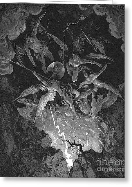 Paradise Lost  The Fall Of Man Greeting Card by Gustave Dore