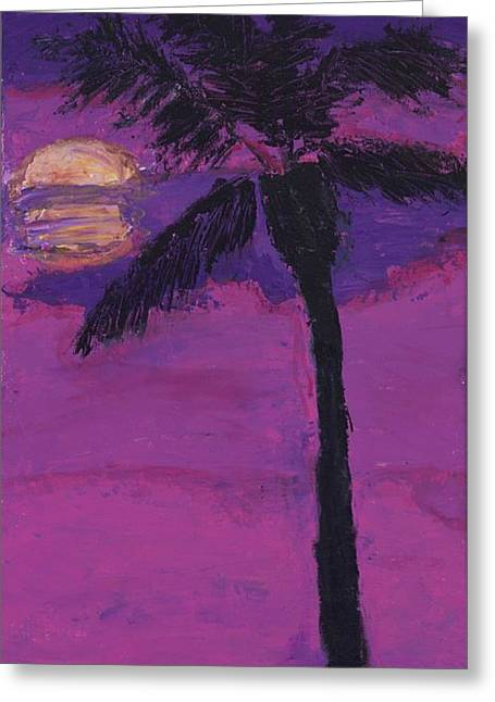 Pallet Knife Greeting Cards - Paradise Palm Greeting Card by Maggie  Morrison