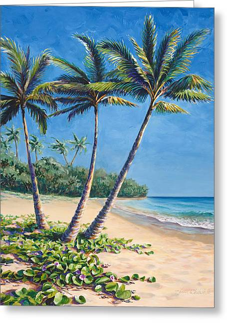 Tropical Paradise Landscape - Hawaii Beach And Palms Painting Greeting Card