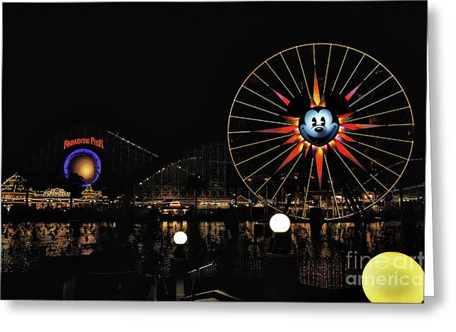 Paradise Pier And Mickey's Fun Wheel Greeting Card by Peter Dang