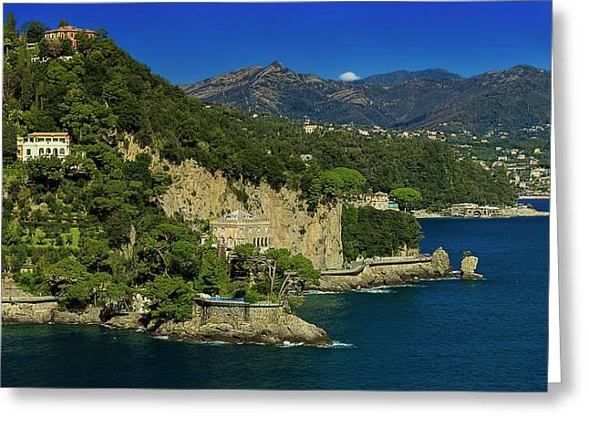 Paraggi Bay Castle And Liguria Mountains Portofino Park  Greeting Card