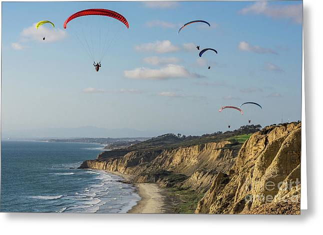 Paragliders At Torrey Pines Gliderport Over Black's Beach Greeting Card