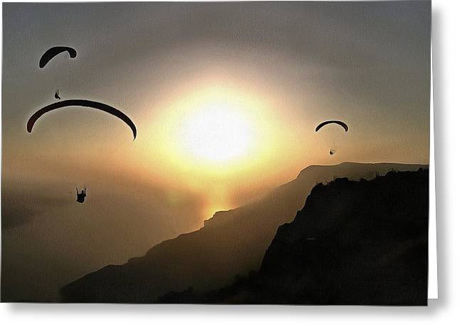 Paragliders Flying Without Wings Greeting Card by Tracey Harrington-Simpson