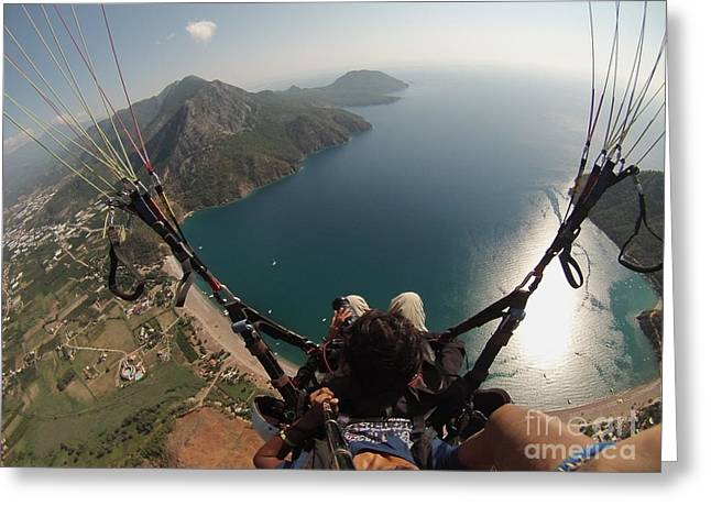Greeting Card featuring the photograph Paragliding Fly Above Laguna Seascape by Raimond Klavins