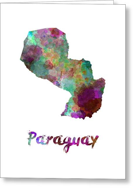 Paraguay In Watercolor Greeting Card by Pablo Romero