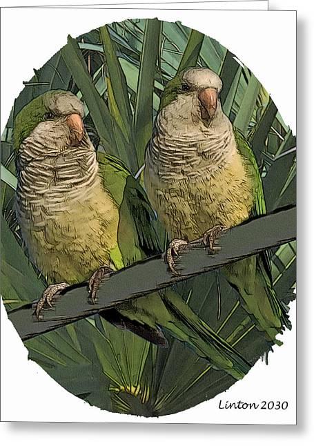 Parakeet Pair Greeting Card by Larry Linton