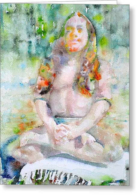 Paramahansa Yogananda - Watercolor Portrait.3 Greeting Card by Fabrizio Cassetta