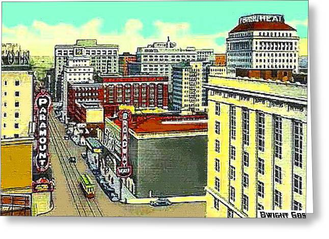Paramount And Broadway Theatres In Portland Or In 1937 Greeting Card