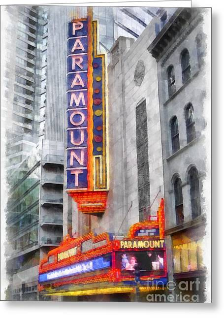 Paramount Theater Boston Ma Greeting Card by Edward Fielding