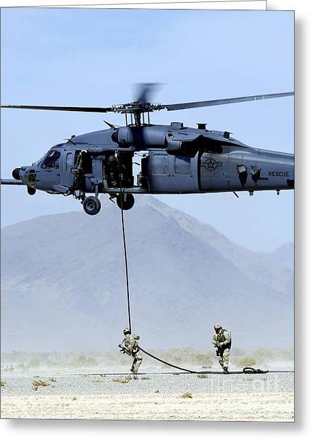 Pararescuemen Descend From An Hh-60 Greeting Card