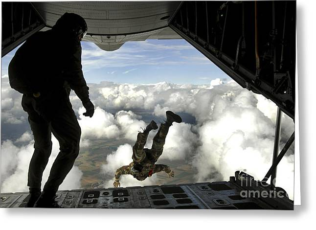 Pararescuemen Jump Out The Back Greeting Card by Stocktrek Images
