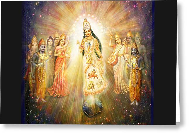Parashakti Devi - The Great Goddess In Space Greeting Card by Ananda Vdovic