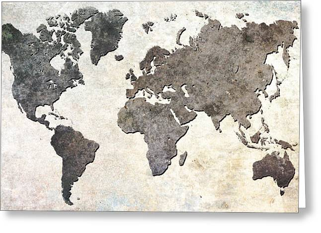 Parchment World Map Greeting Card