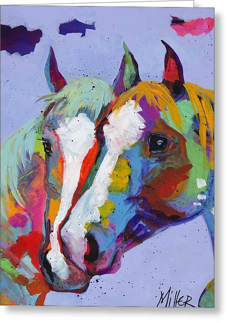 Contemporary Equine Greeting Cards - Pardners Greeting Card by Tracy Miller