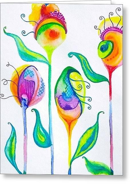 Parfait Space Flowers Greeting Card by Erika Swartzkopf