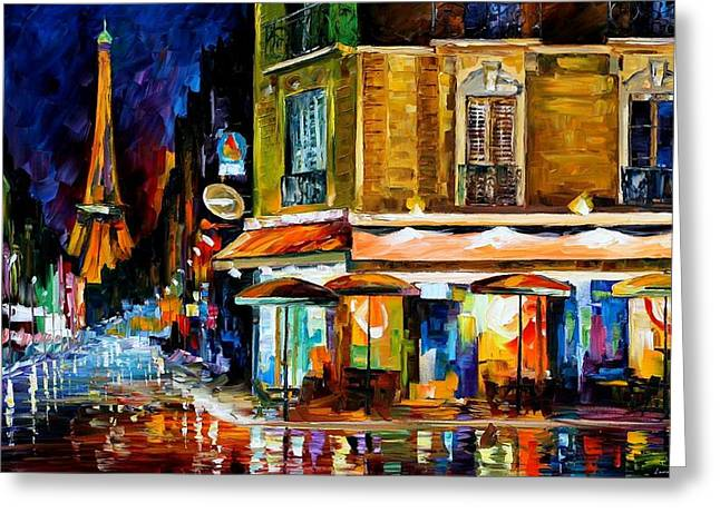 Afremov Greeting Cards - Paris - Recruitement Cafe Greeting Card by Leonid Afremov