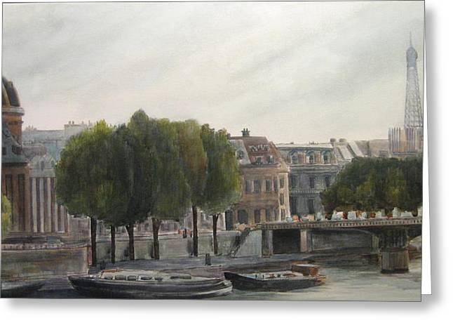 Paris Across The Seine Greeting Card by Victoria Heryet