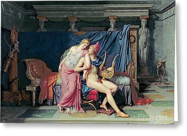 Chaise Greeting Cards - Paris and Helen Greeting Card by Jacques Louis David