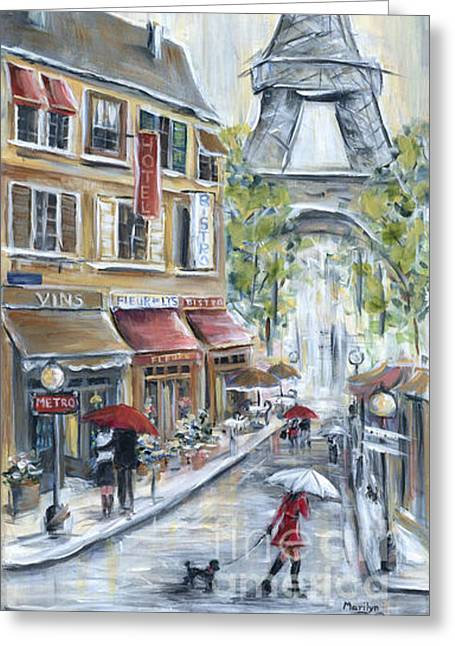 Poodle In Paris Greeting Card by Marilyn Dunlap