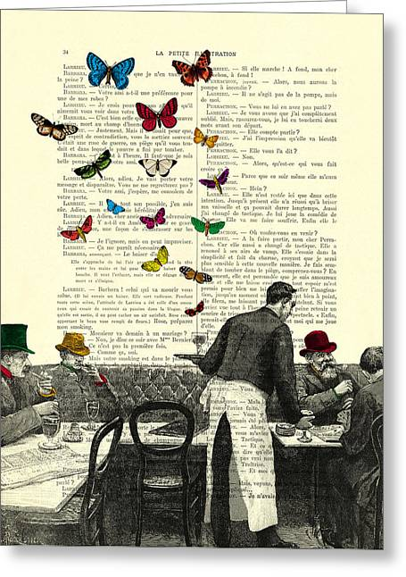 Inside Of A French Bistro At Paris And Rainbow Butterflies Greeting Card by Madame Memento