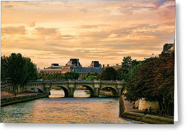 Paris At Sunset Greeting Card by Chuck Kuhn