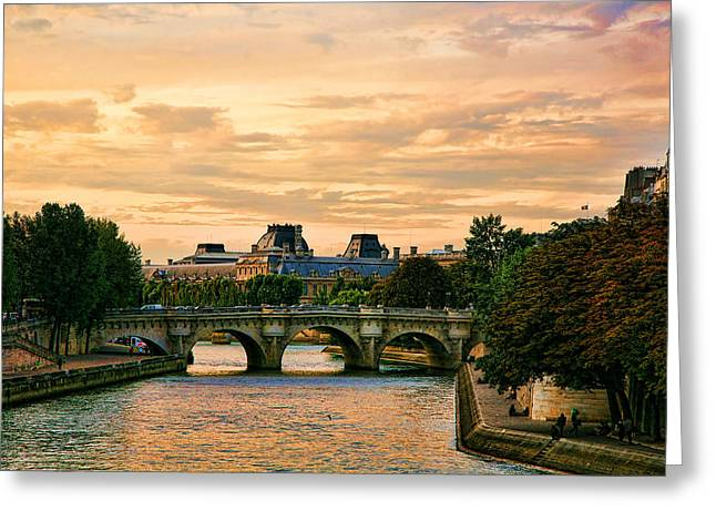 Paris At Sunset The Seine River  Greeting Card
