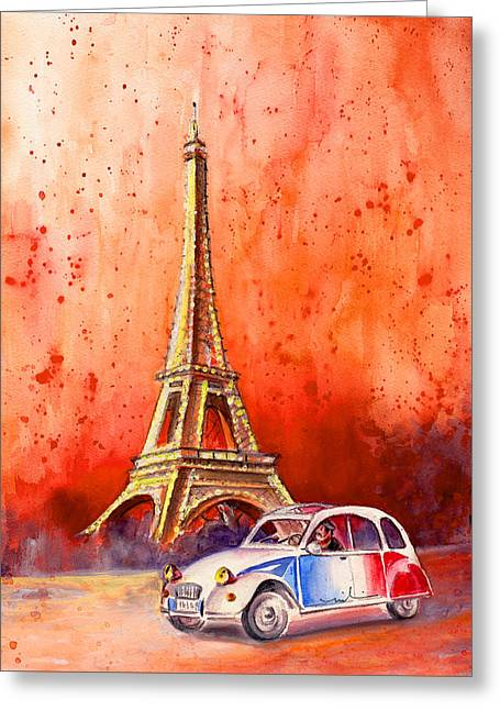 Paris Authentic Greeting Card by Miki De Goodaboom