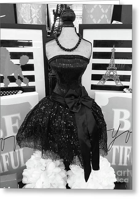 Greeting Card featuring the photograph Paris Ballerina Costume Black And White French Decor - Parisian Ballet Art Black And White Art Deco by Kathy Fornal