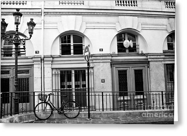 Greeting Card featuring the photograph Paris Bicycle Street Lanterns Architecture Black And White Art Deco - Paris Black White Home Decor by Kathy Fornal