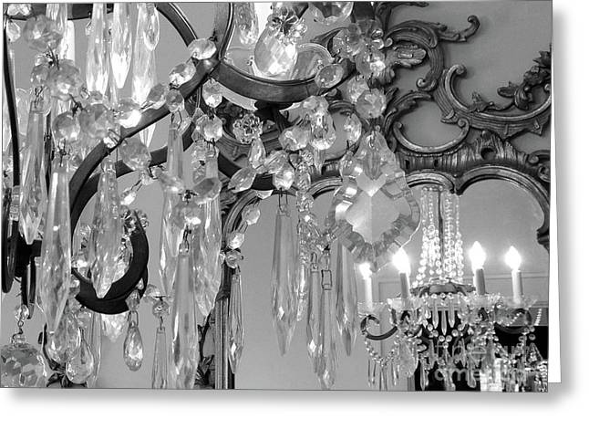 Greeting Card featuring the photograph Paris Black And White Crystal Chandelier Mirrored Wall Decor -parisian Black White Chandelier Prints by Kathy Fornal