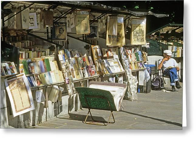 Paris Bookseller Stall Greeting Card