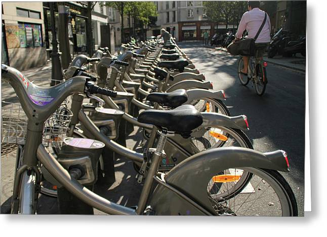 Greeting Card featuring the photograph Paris By Bike by Yoel Koskas