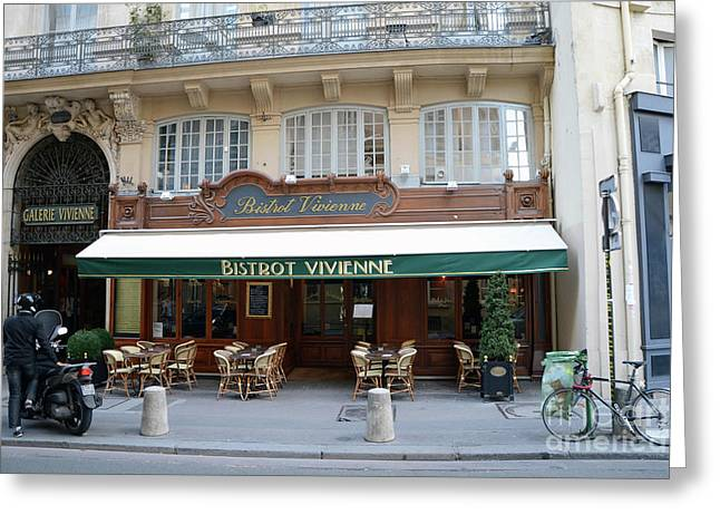 Paris Cafe Bistro - Galerie Vivienne - Paris Cafes Bistro Restaurant-paris Cafe Galerie Vivienne Greeting Card by Kathy Fornal