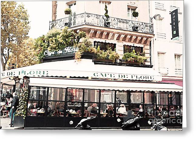 Paris Cafe De Flore Famous Landmark - Paris Street Cafe Restaurant  Greeting Card by Kathy Fornal