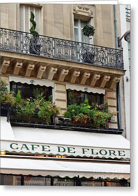 Paris Cafe De Flore - Paris Cafe Restaurant - Famous Paris Cafe Restaurant Greeting Card by Kathy Fornal
