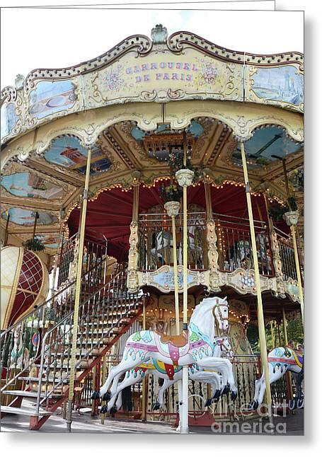 Paris Carousels - Paris Merry Go Round Carousel Horses  Greeting Card