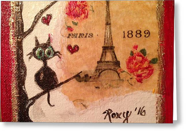 Paris Cat  Greeting Card by Roxy Rich