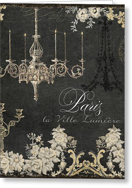 Paris - City Of Light Chandelier Candelabra Chalk Greeting Card