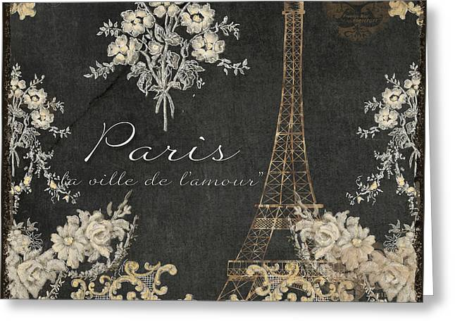 Paris - City Of Love Eiffel Tower Chalk Greeting Card by Audrey Jeanne Roberts