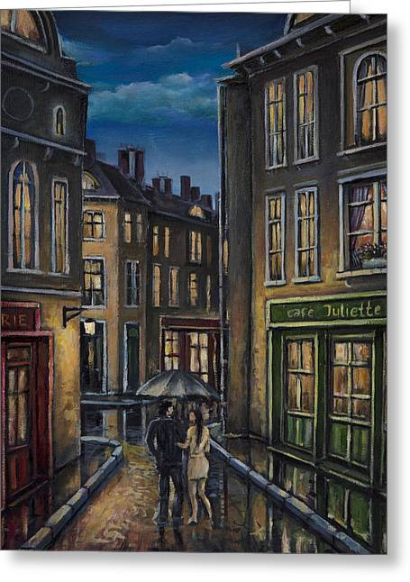 Paris Couple At Night Street Scene Greeting Card