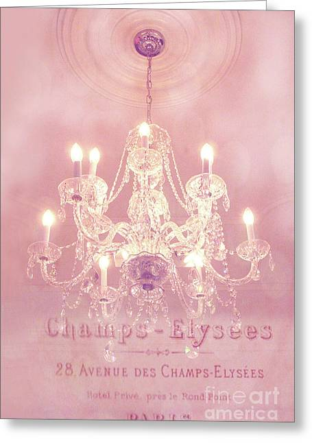 Paris Crystal Chandelier Pink Sparkling Chandelier - Paris Dreamy Pink Chandelier Art French Script  Greeting Card by Kathy Fornal