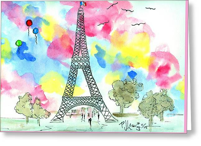 Paris Dreaming Greeting Card by P J Lewis