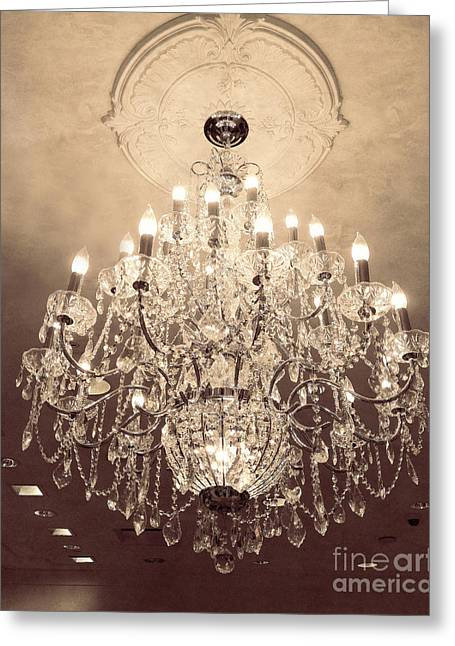 Paris Dreamy Golden Sepia Sparkling Elegant Opulent Chandelier Fine Art Greeting Card