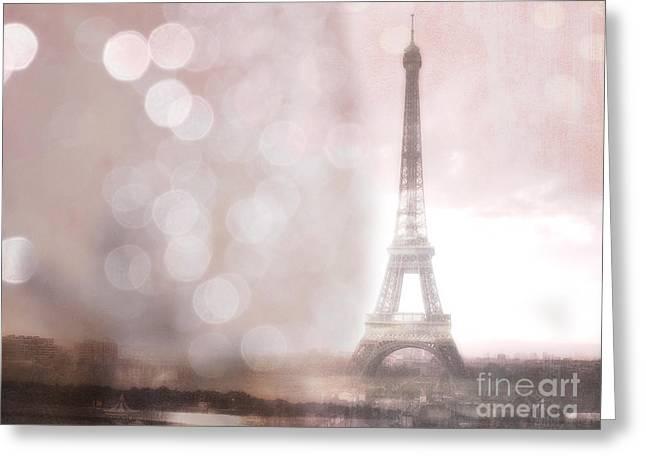 Paris Dreamy Romantic Eiffel Tower Sepia Morning Bokeh Lights Greeting Card