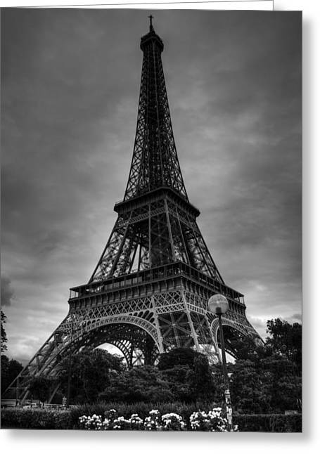 Greeting Card featuring the photograph Paris - Eiffel Tower 004 Bw by Lance Vaughn