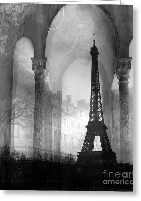 Paris Eiffel Tower Architecture Black And White Fine Art Photography Greeting Card by Kathy Fornal